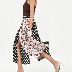 ZARA Midi Wrap Patchwork Pleated Leg Silt Skirt M